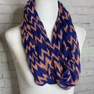 CC Coral and Blue Chevron Infinity Scarf